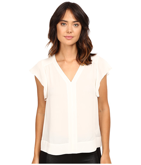 Rebecca Taylor Silk Double Georgette Sleeveless V-Neck Top