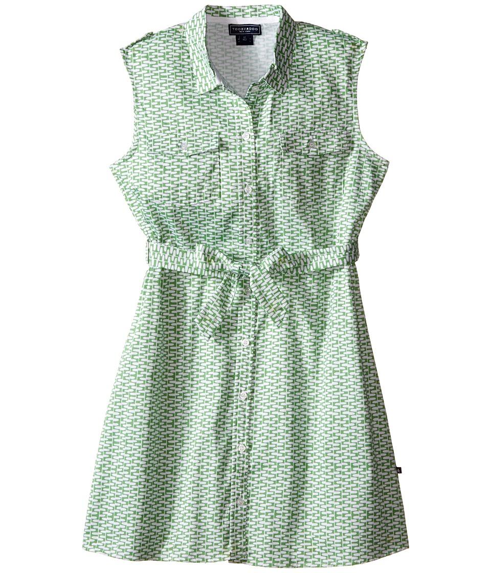 Toobydoo Tank Shirtdress Toddler/Little Kids/Big Kids Green/White Girls Dress
