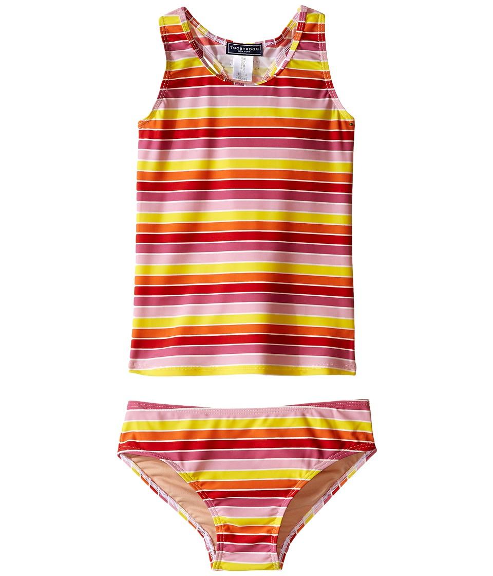 Toobydoo Multi Stripe Tankini Infant/Toddler/Little Kids/Big Kids Yellow/Orange/Red/Pink Girls Swimwear Sets