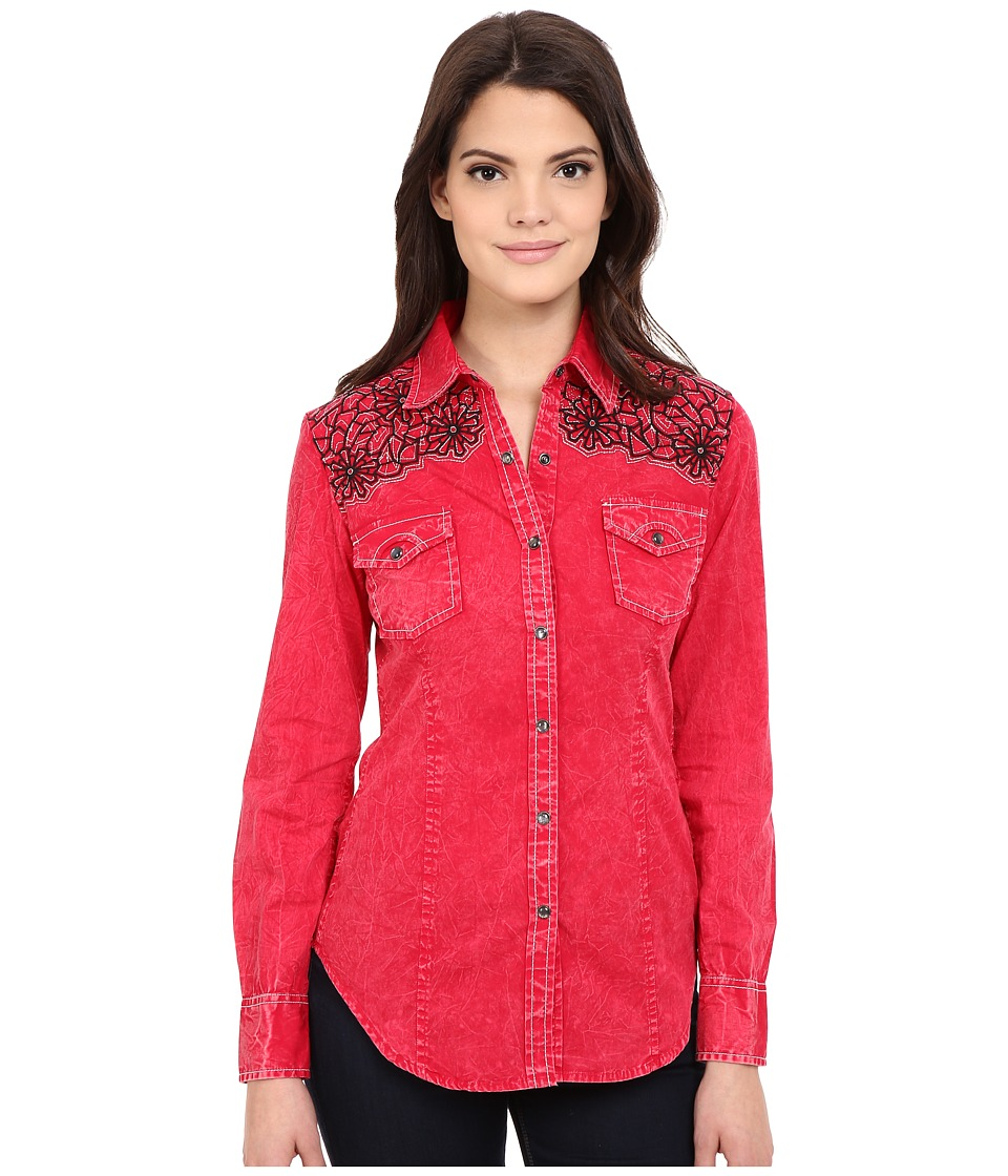 Rock and Roll Cowgirl Long Sleeve Snap B4S6400 Red Womens Long Sleeve Button Up