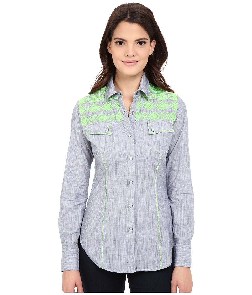 Rock and Roll Cowgirl Long Sleeve Snap B4S6401 Blue Womens Long Sleeve Button Up