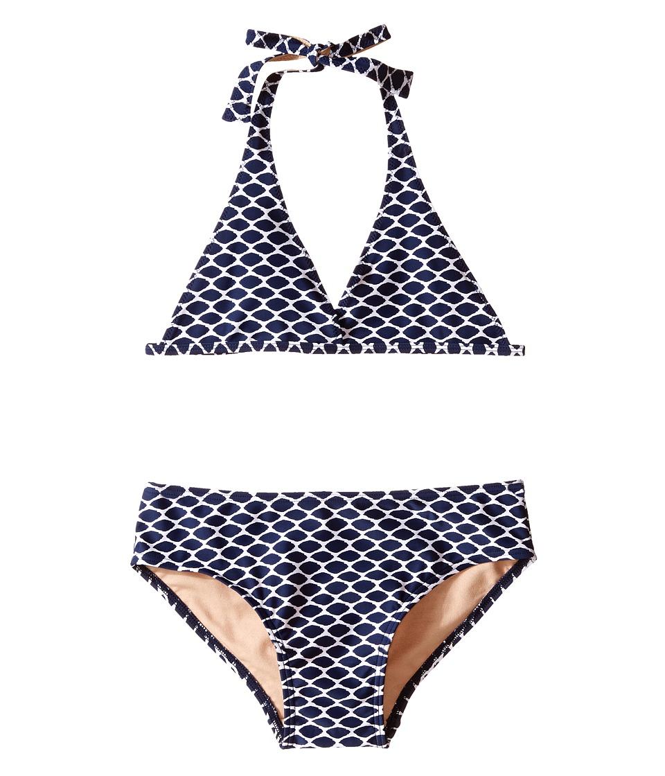Toobydoo Navy/White Pattern String Bikini Infant/Toddler/Little Kids/Big Kids Navy/White Girls Swimwear Sets