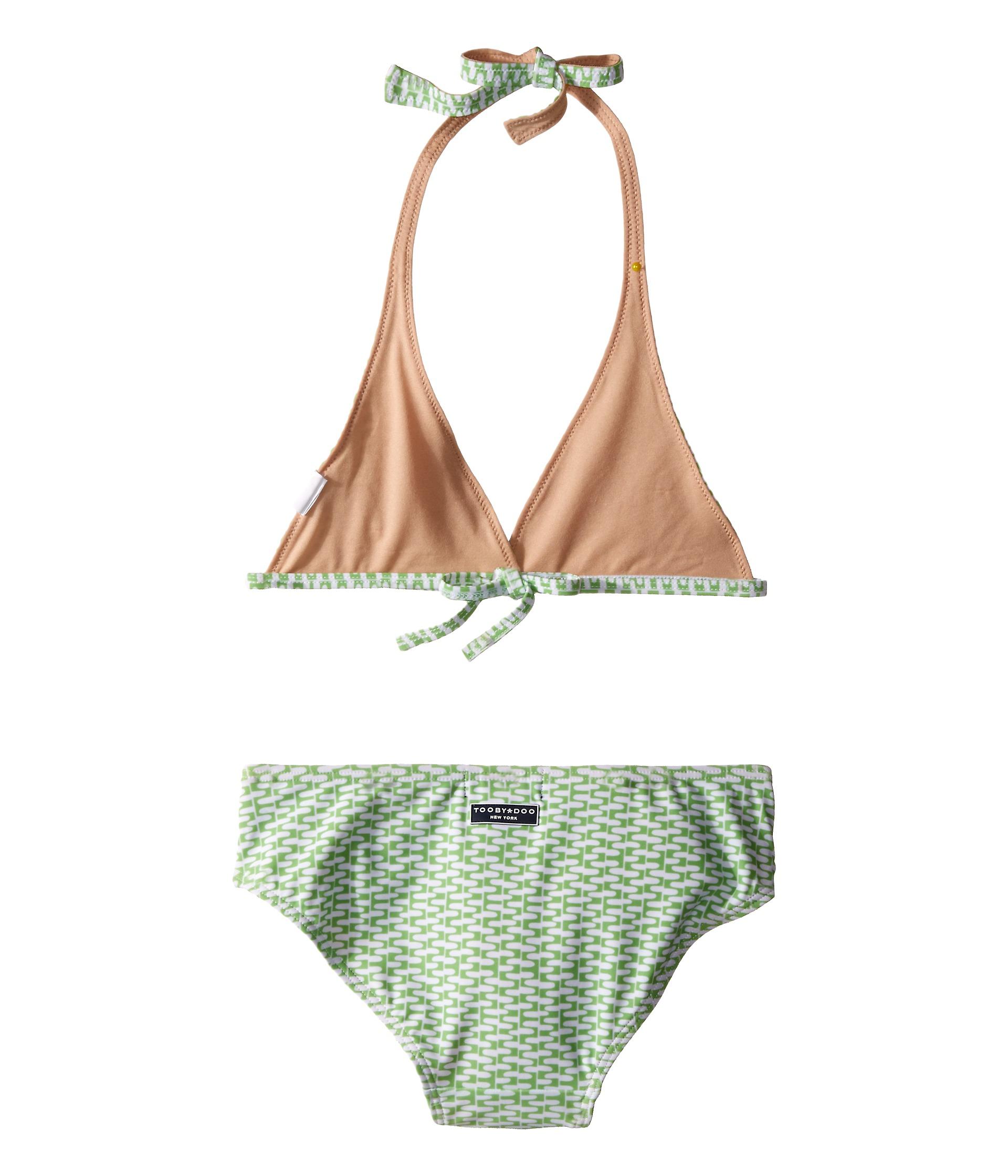 Toobydoo Green/White String Bikini (Infant/Toddler/Little