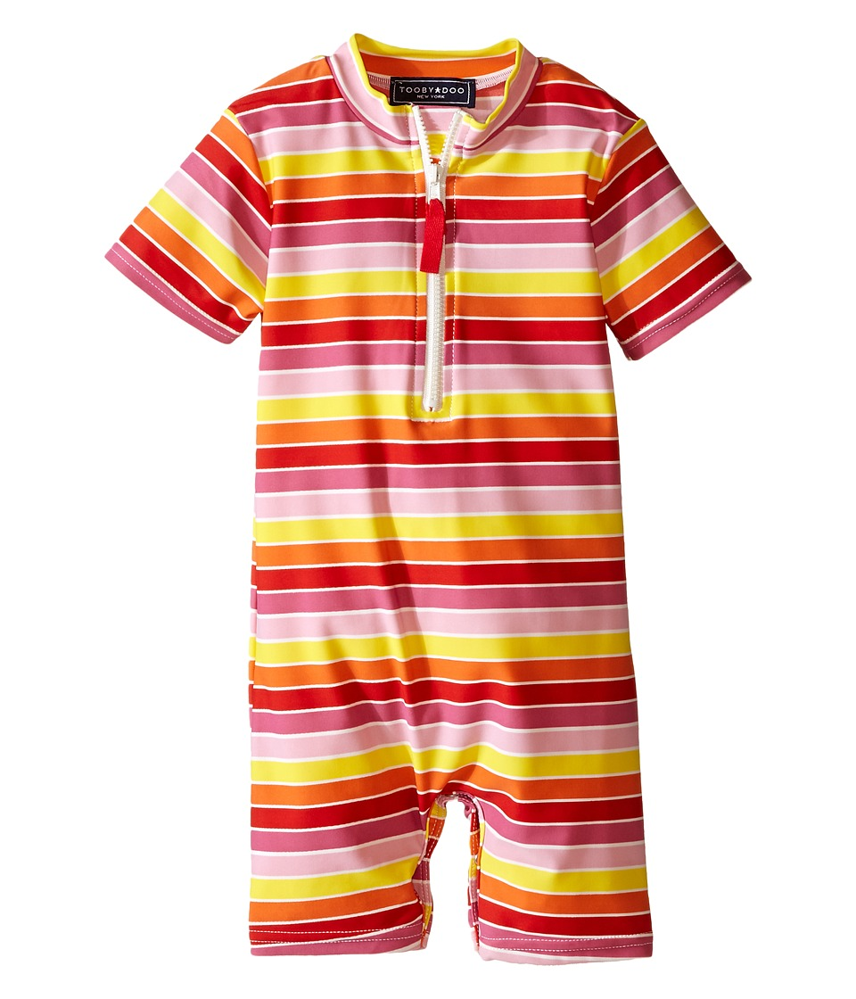 Toobydoo Multi Stripe/White Zip Short Sleeve Sunsuit Infant Yellow/Orange/Red/Pink Girls Swimsuits One Piece
