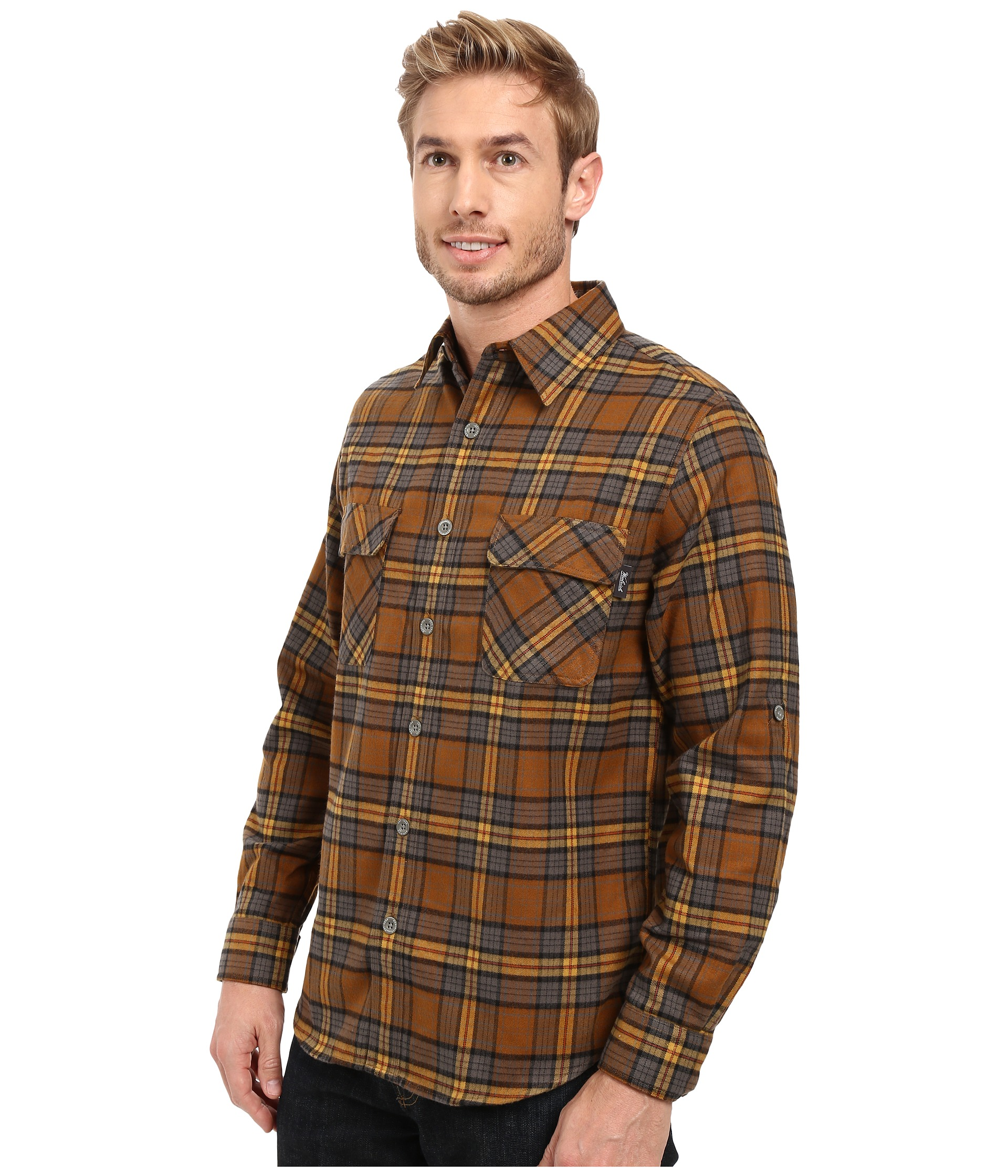 Woolrich hikers trail flannel shirt modern fit chicory for Athletic cut flannel shirts