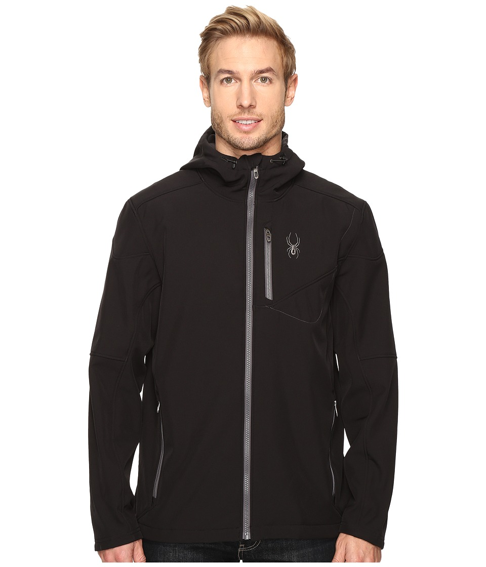 Spyder Patsch Hoodie Softshell Jacket (Black/Polar) Men
