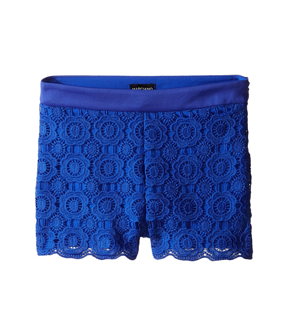 Marciano Kids Lace Shorts w/ Pleather Trim Big Kid Royal Blue Girls Shorts