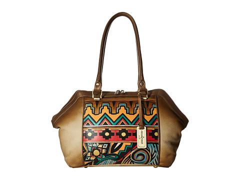 Anuschka Handbags 587 Large Wide Satchel - Antique Aztec