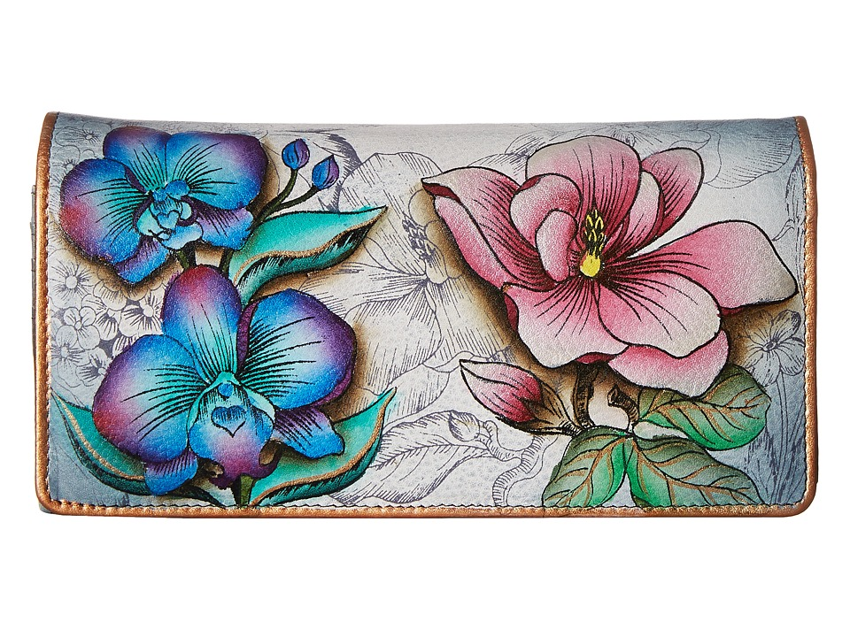 Anuschka Handbags 1095 Floral Fantasy Checkbook Wallet
