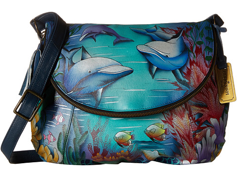 Anuschka Handbags 482 Large Flap-Over Convertible - Dolphin World