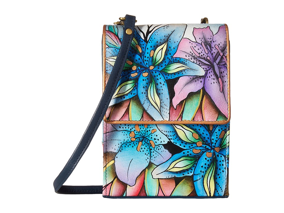 Anuschka Handbags - 412 (Luscious Lilies Denim) Cross Body Handbags