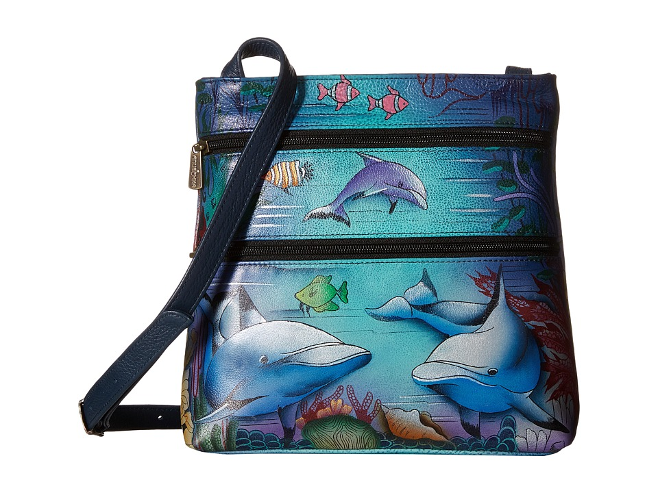 Anuschka Handbags - 447 (Dolphin World) Cross Body Handbags