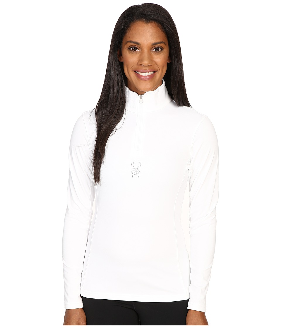 Spyder Shimmer Bug Velour Fleece T-Neck Top (White) Women