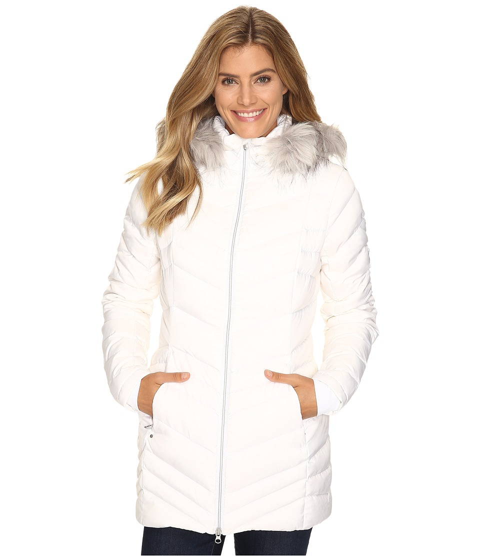 Spyder Timeless Long Faux Fur Down Jacket (White) Women