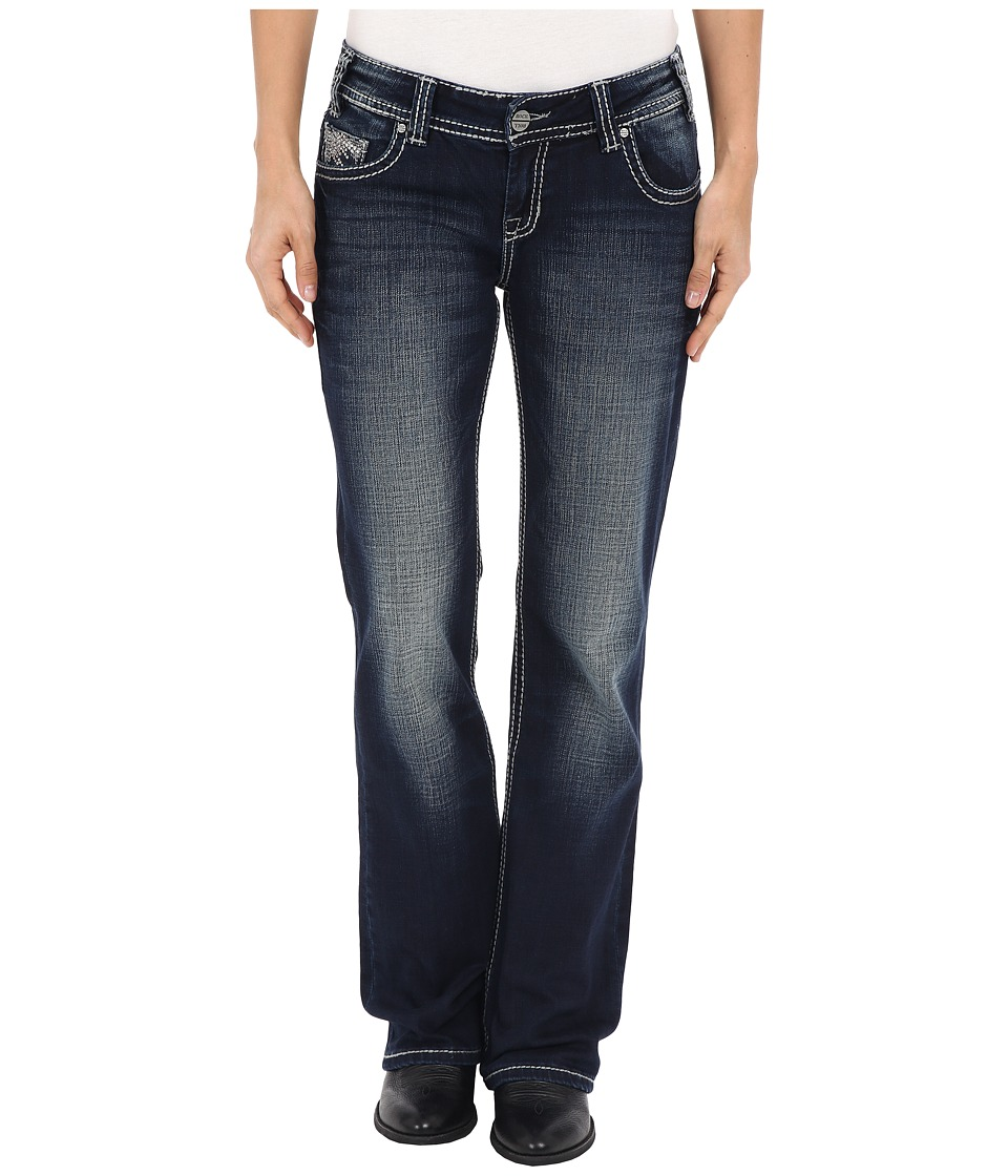 Rock and Roll Cowgirl Riding Bootcut in Dark Vintage W7 6439 Dark Vintage Womens Jeans