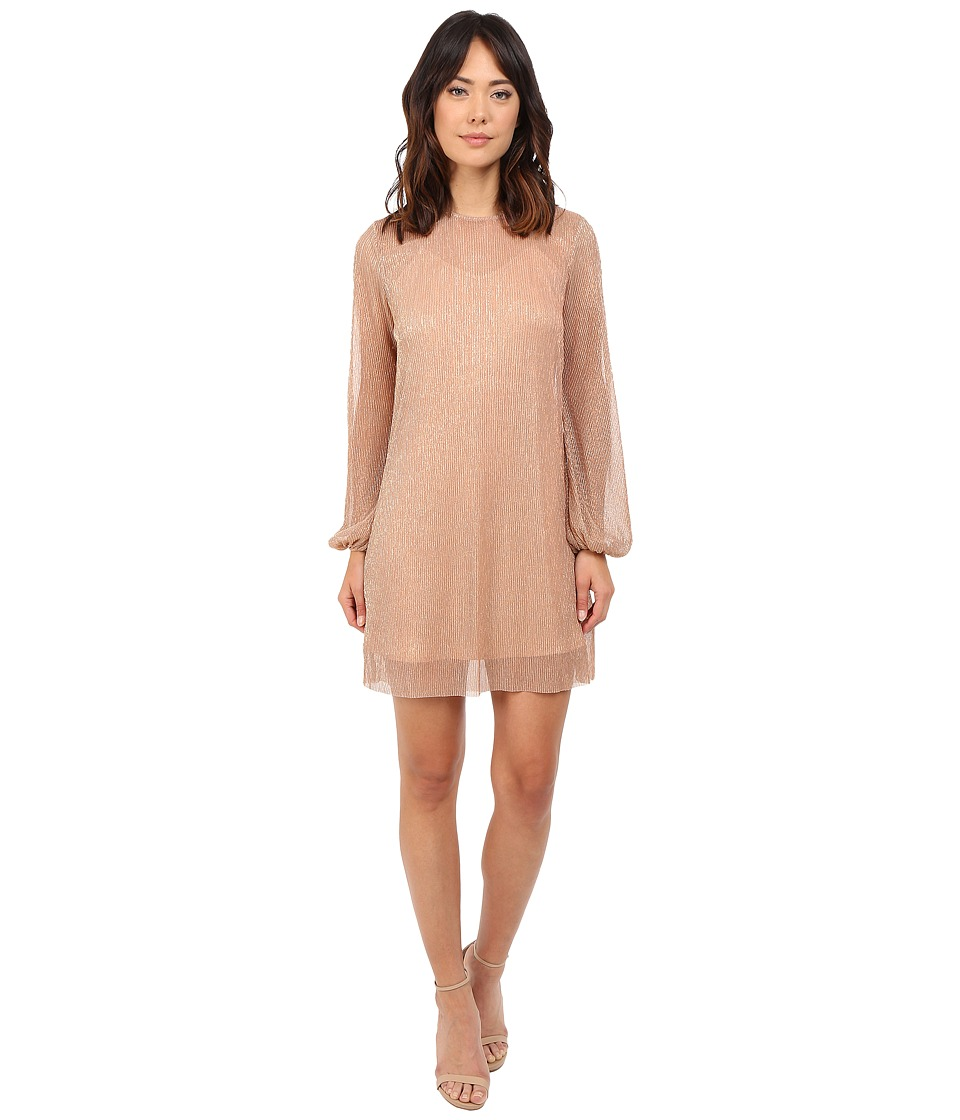 KEEPSAKE THE LABEL Fading Out Long Sleeve Mini Dress Bronze Lurex Womens Dress