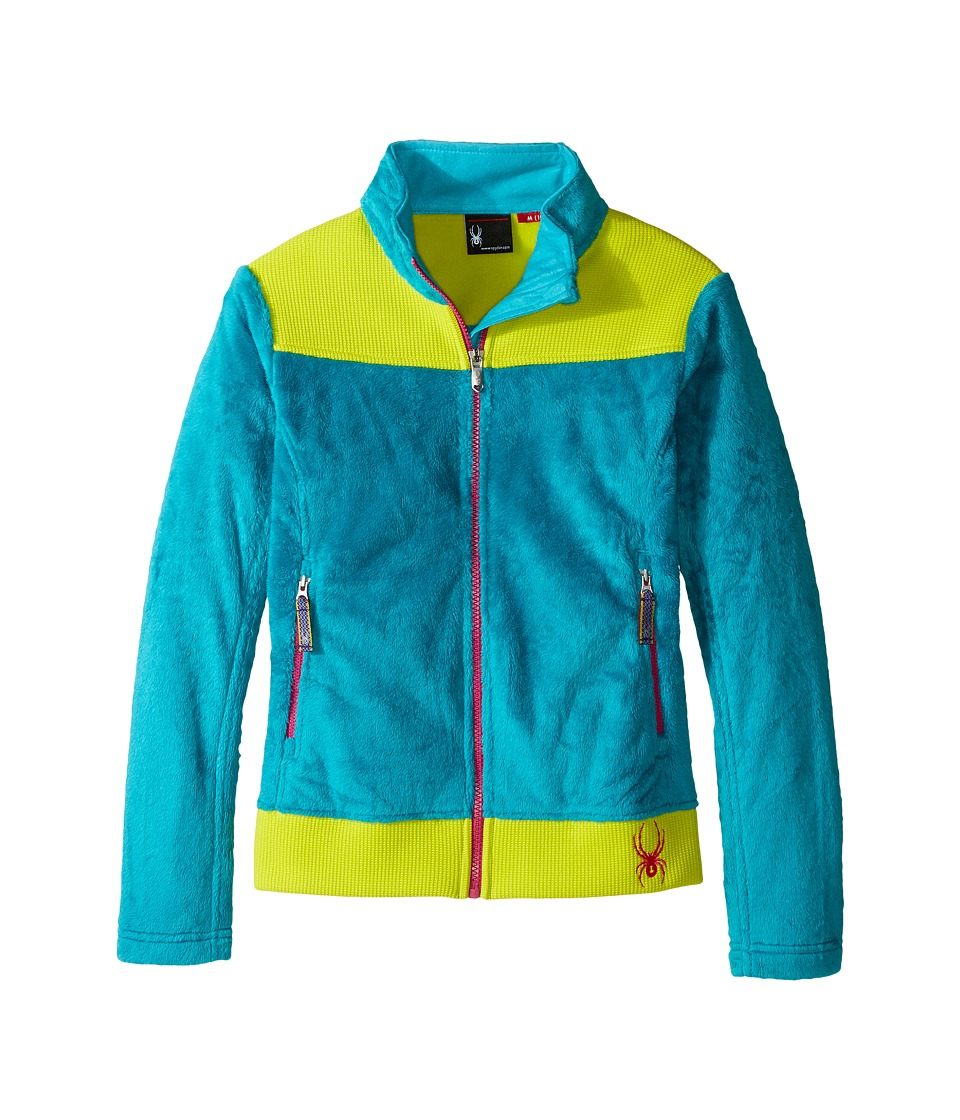 Spyder Kids Caliper Stryke Hybrid Fleece Jacket (Little Kids/Big Kids) (Bluebird/Acid/Voila) Girl