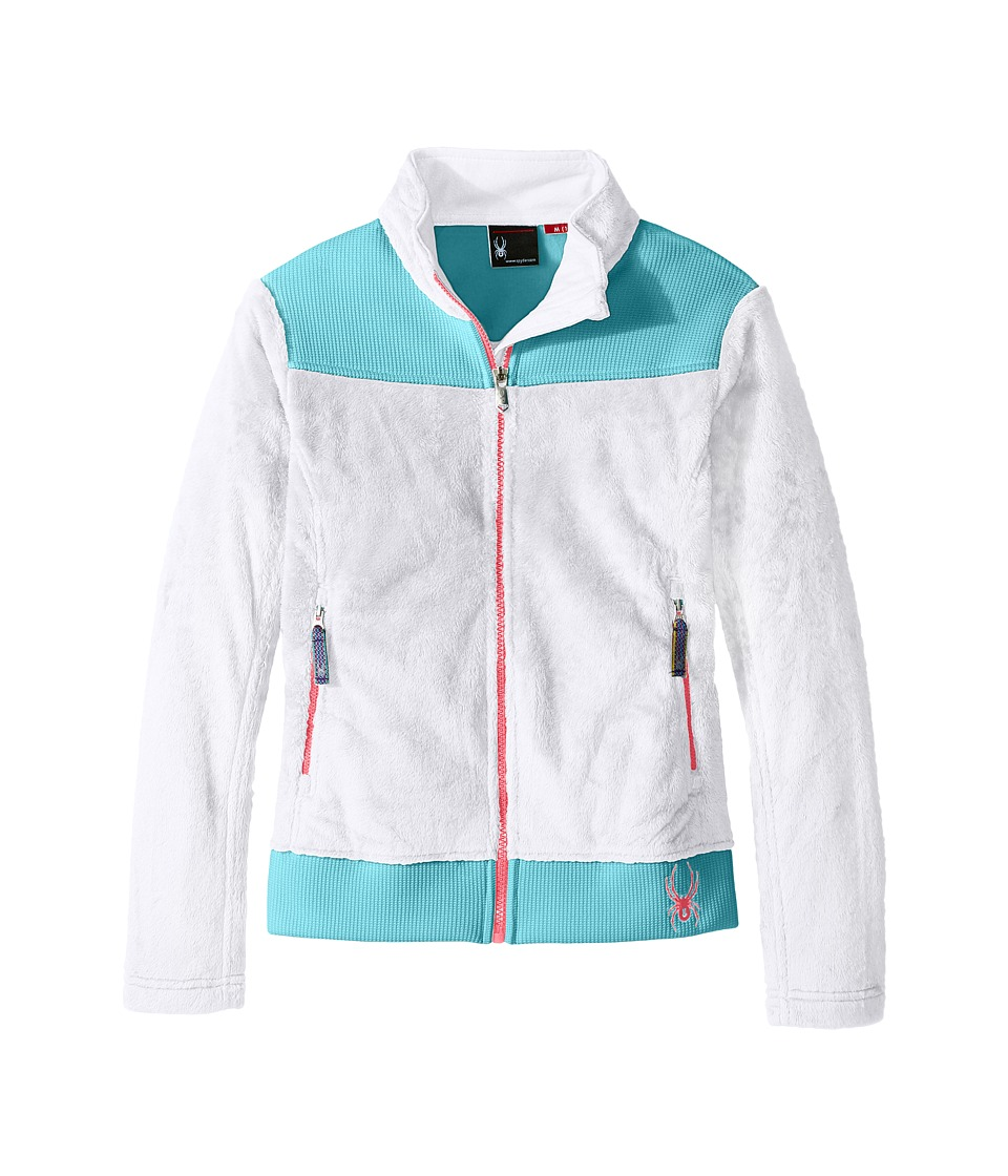 Spyder Kids Caliper Stryke Hybrid Fleece Jacket (Little Kids/Big Kids) (White/Freeze/Bryte Bubblegum) Girl
