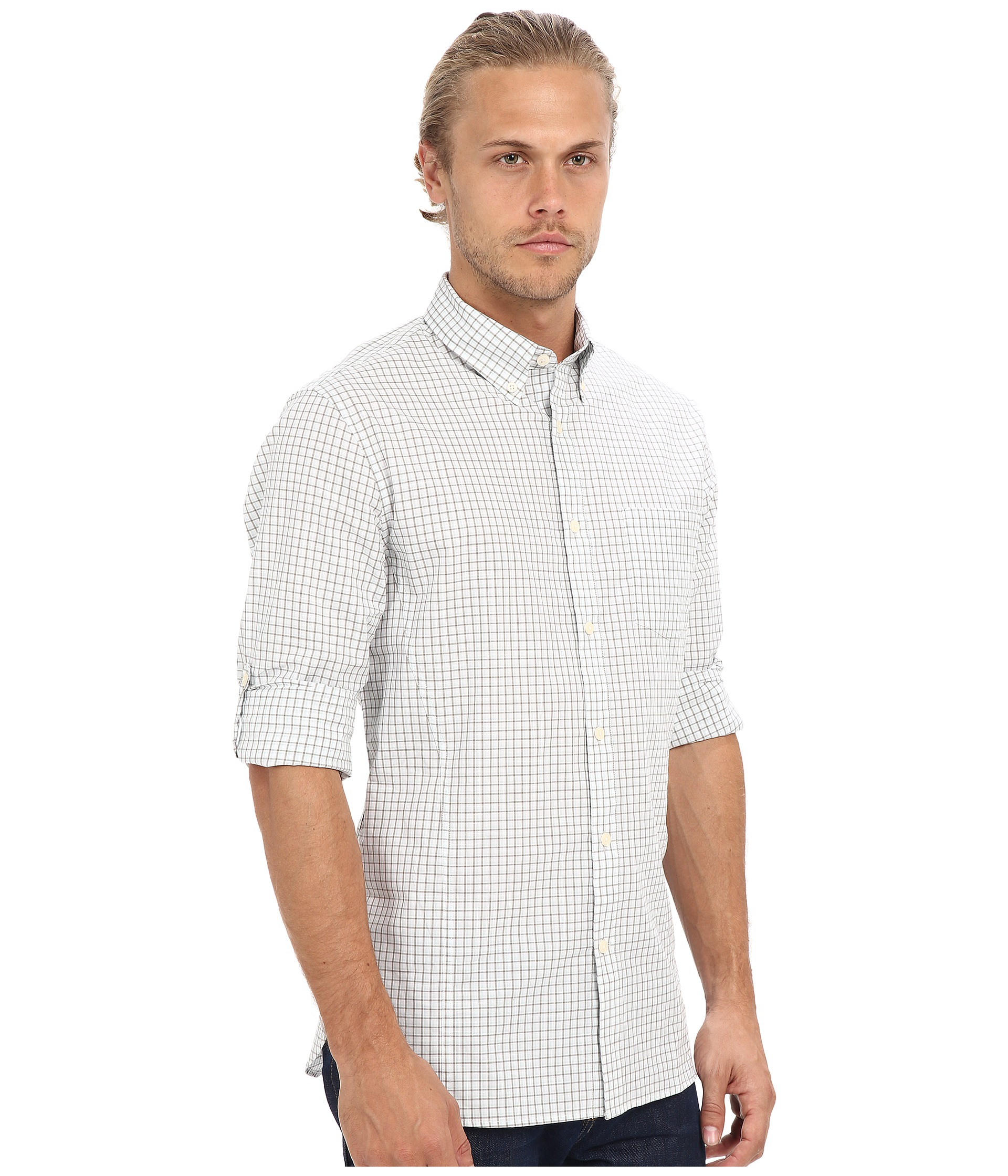 John varvatos star u s a slim fit button down collar for Button up collared sport shirts