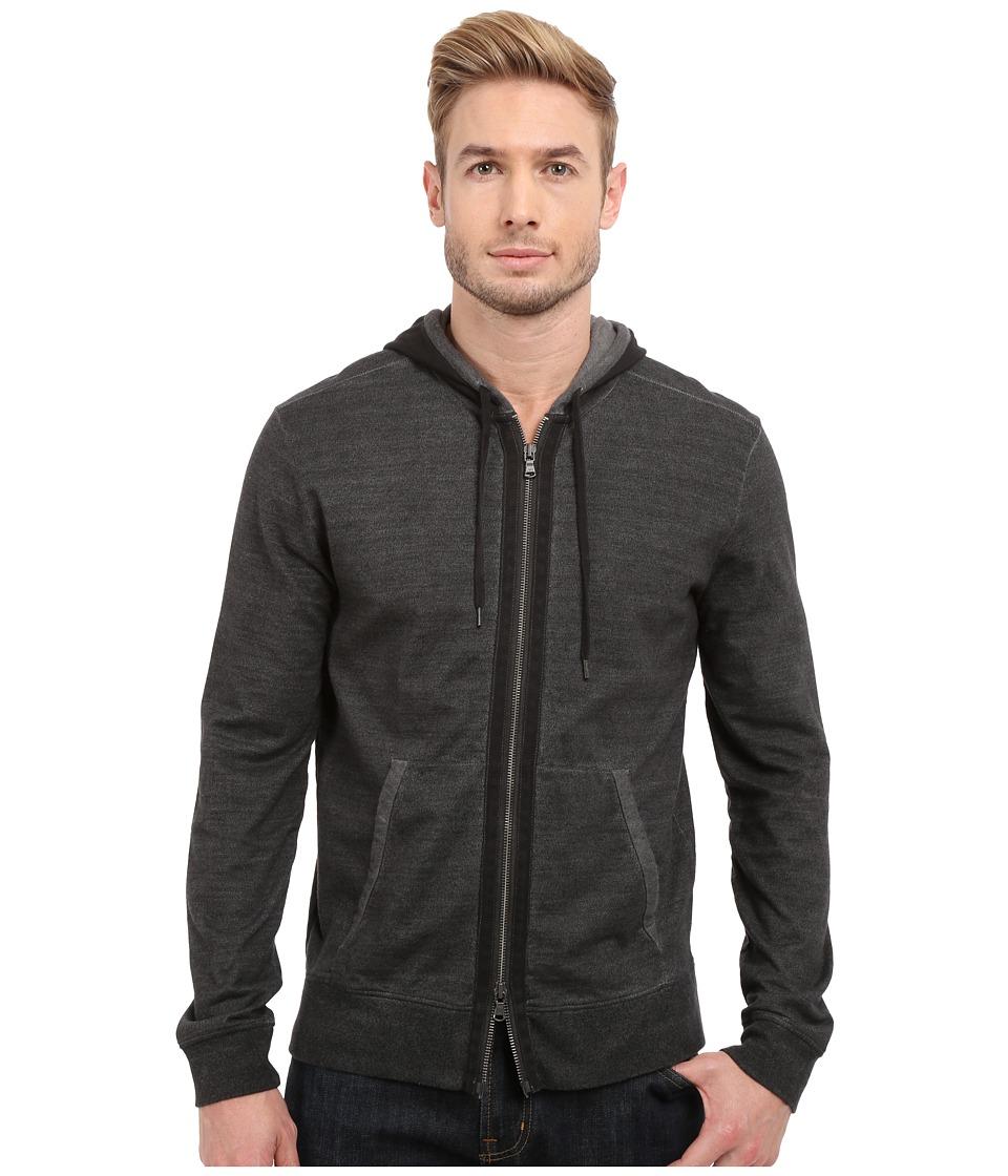 John Varvatos Star U.S.A. Long Sleeve Zip Front Knit Hoodie K2627S1B Pewter Mens Sweatshirt