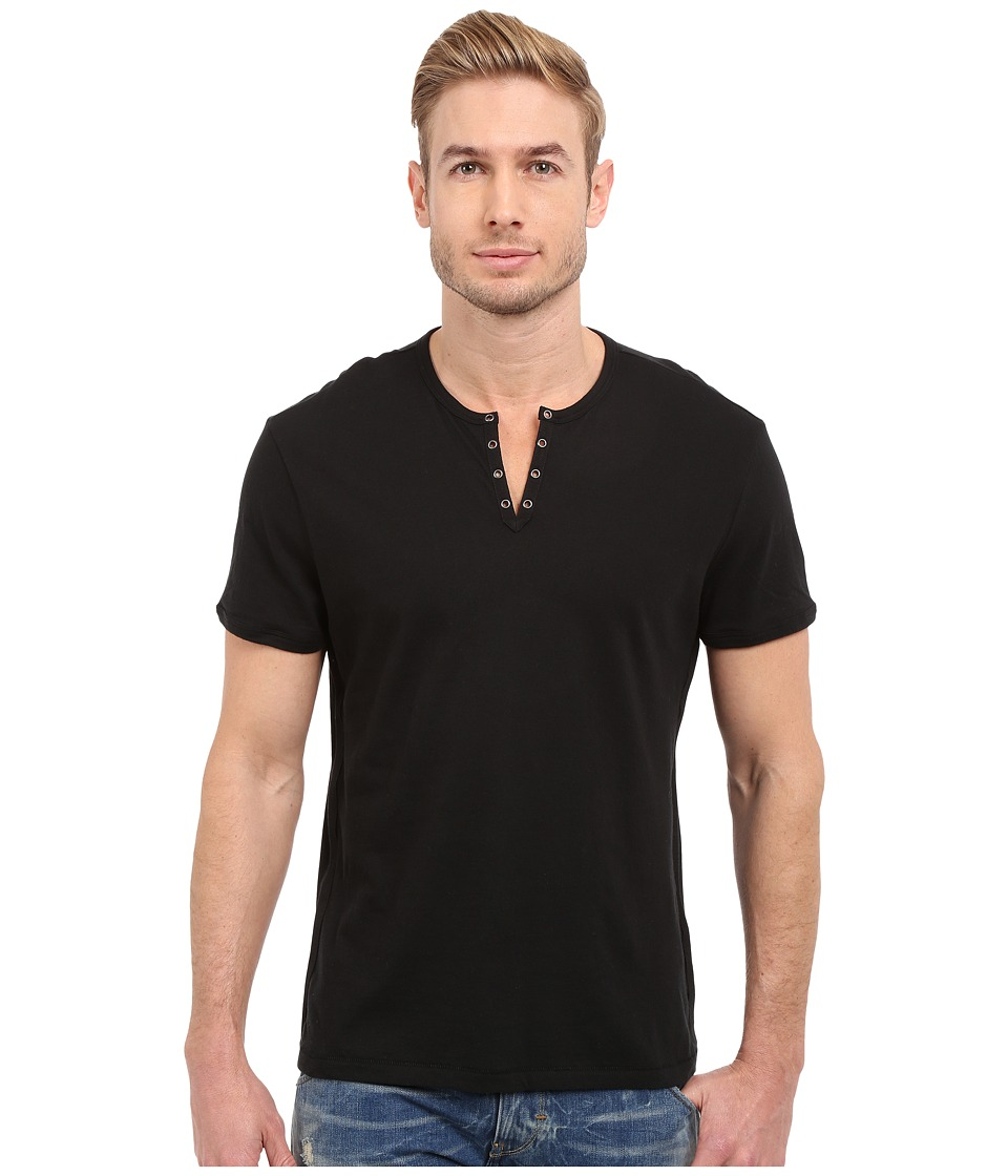 John Varvatos Star U.S.A. - Short Sleeve Eylelet Crew Shirt (Black) Mens Clothing