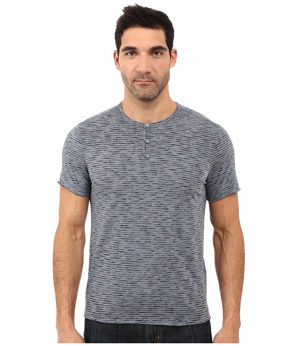 John Varvatos Star U.S.A. - Reverse Print Mixed Stripe Short Sleeve Knit Henley K2531S1B (Dark Navy) Men
