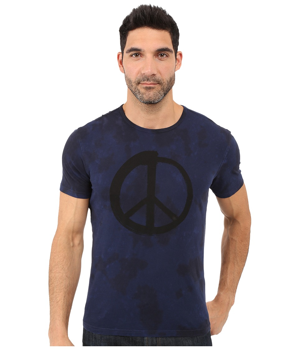 John Varvatos Star U.S.A. - Peace Spencer Wash Graphic Tee K2613S1B (Indigo) Men