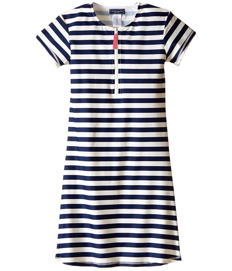 Toobydoo Navy/White Stripe Short Sleeve Surf Dress Infant/Toddler/Little Kids/Big Kids Navy/White Girls Dress