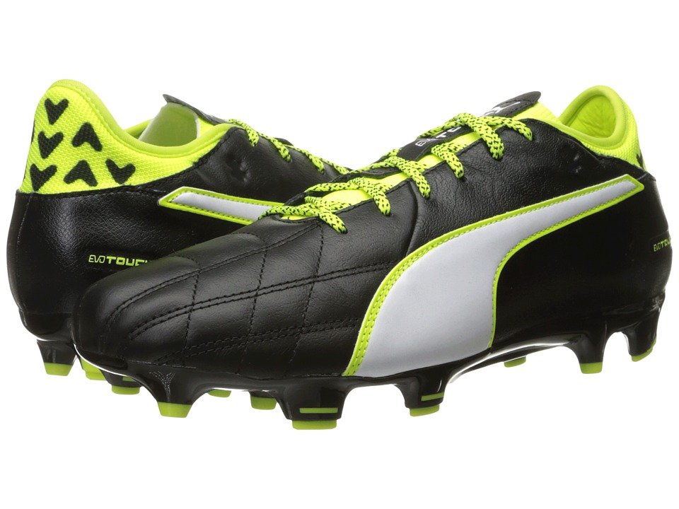 PUMA - evoTOUCH 3 Leather FG (Puma Black/Puma White/Safety Yellow) Men