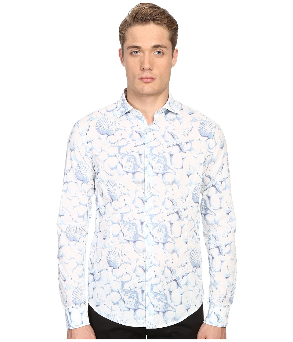 Armani Jeans All Over Printed Cotton Popeline White/Blue Mens Clothing