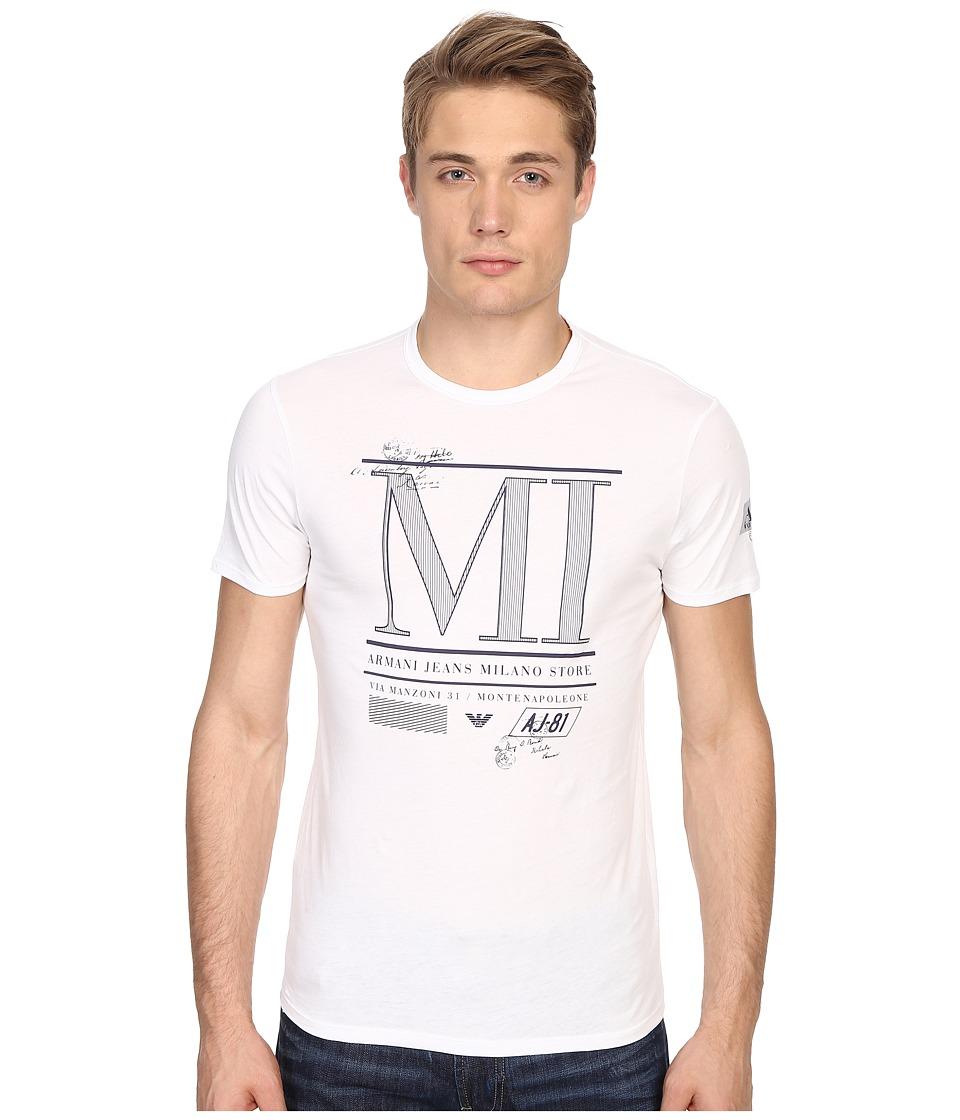 Armani Jeans Milan Water Print Tee White Mens T Shirt