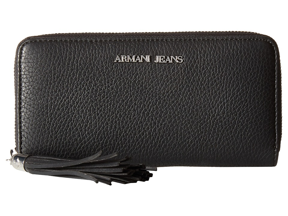 Armani Jeans - Zip Around Wallet with Tassle Detail (Black) Wallet Handbags