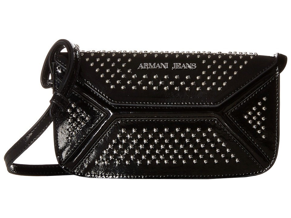 Armani Jeans - Leather Continental Bag with Studs (Black) Bags