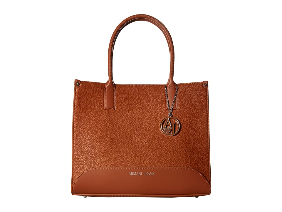 Armani Jeans - Small Tumbled Eco Leather Shopping Bag (Brown) Bags