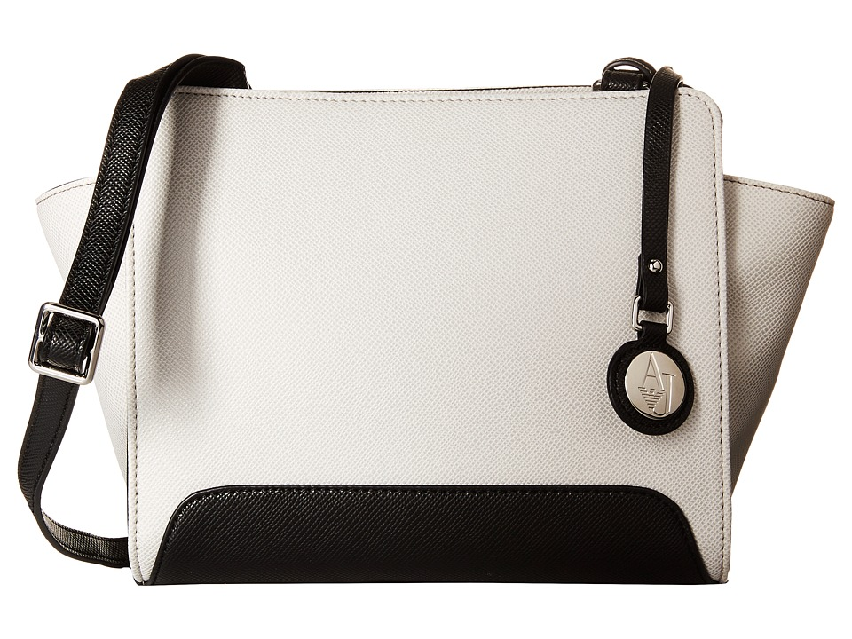 Armani Jeans Small Printed Eco Leather Sling Bag White Bags