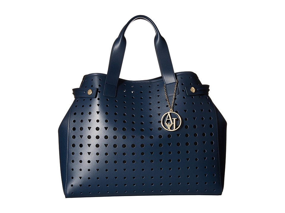 Armani Jeans - Perforated Eco Leather Shopping Bag (Blue) Bags