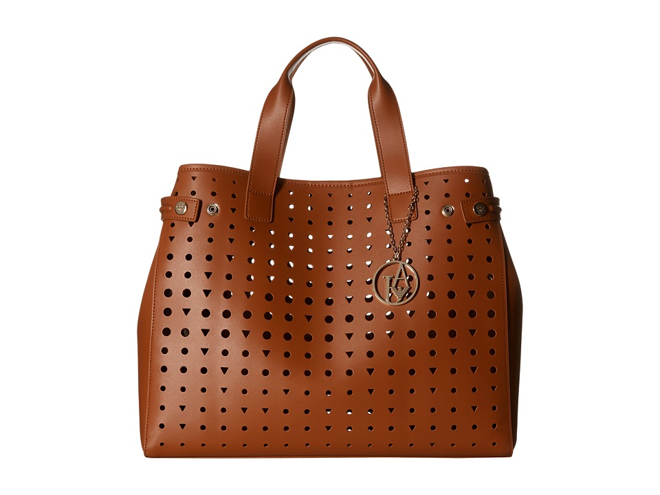 Armani Jeans - Perforated Eco Leather Shopping Bag (Brown) Bags