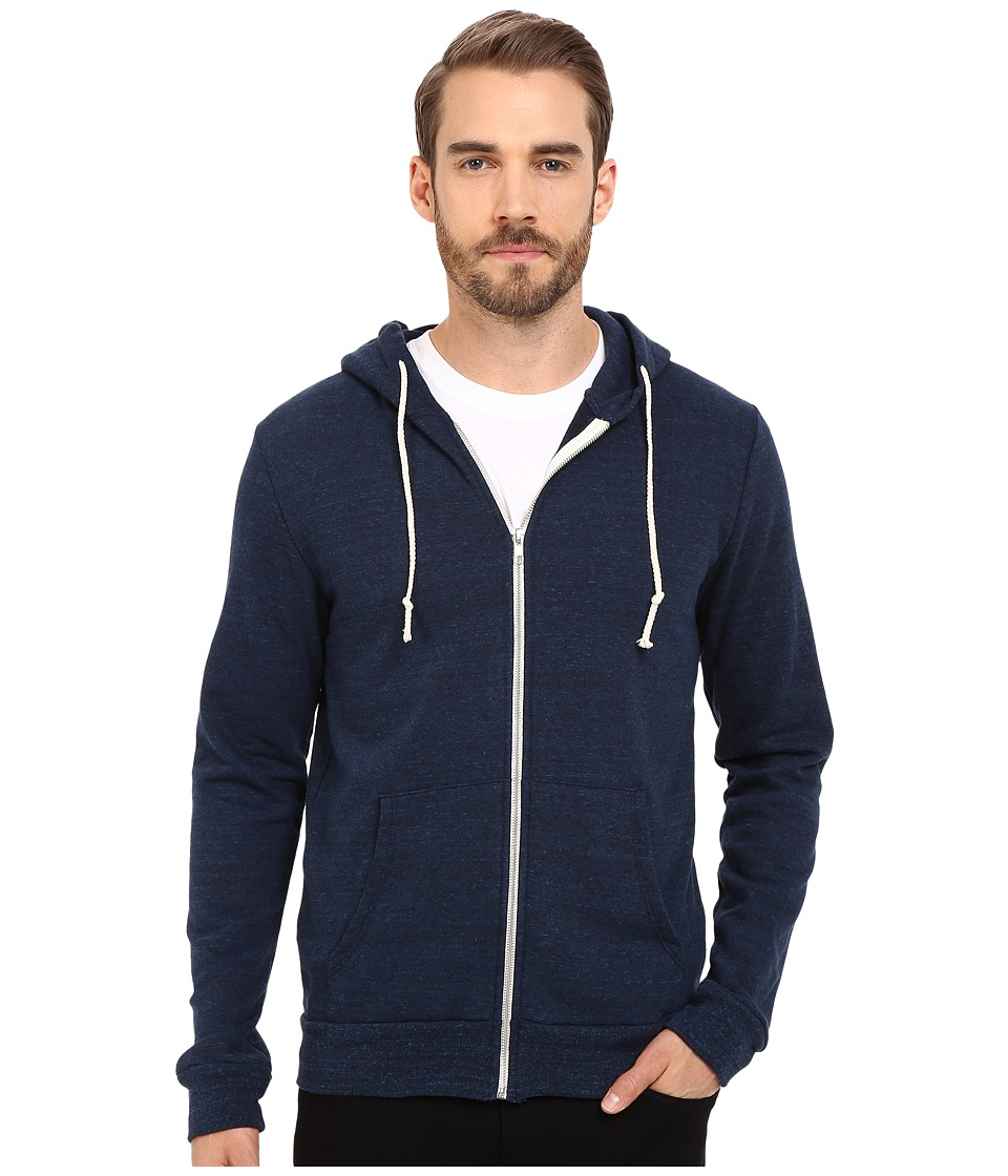 Threads 4 Thought - Triblend Zip Front Hoodie (Midnight) Mens Sweatshirt