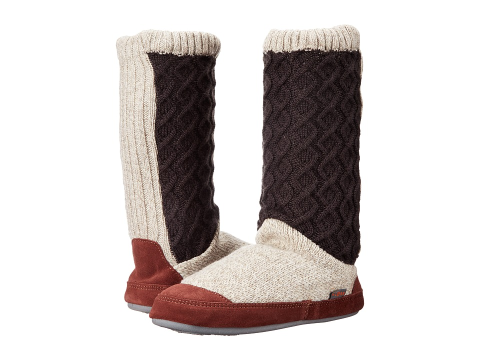 Acorn Slouch Boot (Charcoal Cable Knit) Slippers