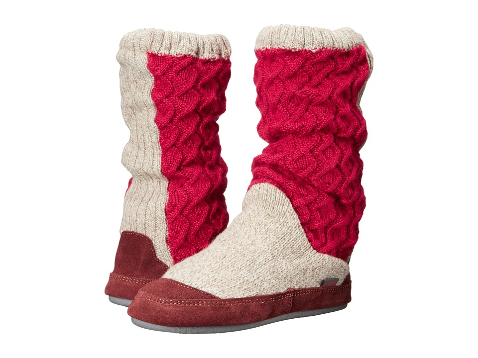 Acorn Slouch Boot (Red Cable Knit) Slippers