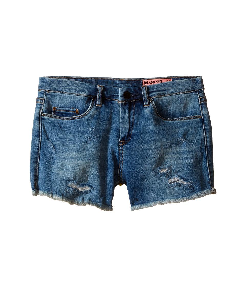Blank NYC Kids Denim Distressed Shorts in No Tell Motel Big Kids Blue Girls Shorts