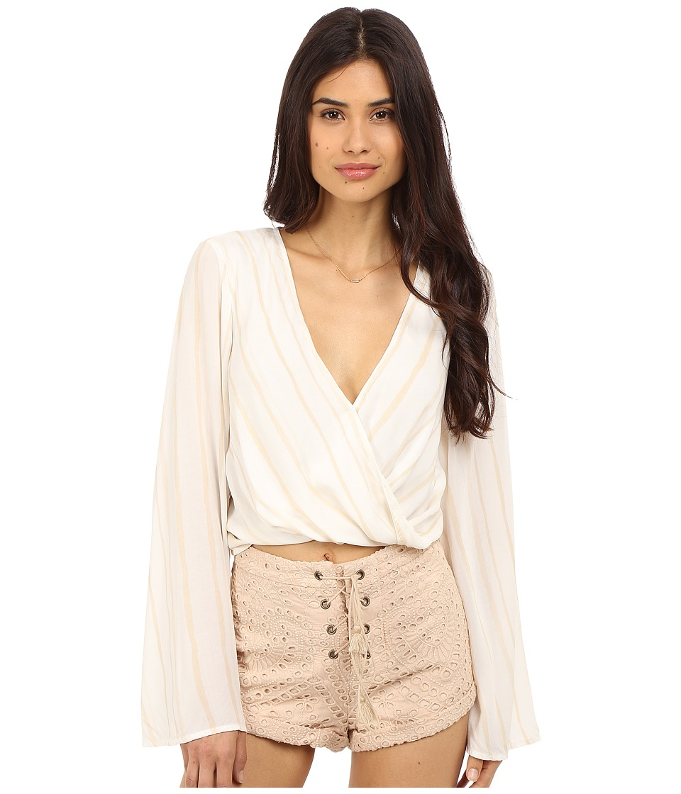 The Jetset Diaries El Dorado Wrap Top Tan Stripe Womens Clothing