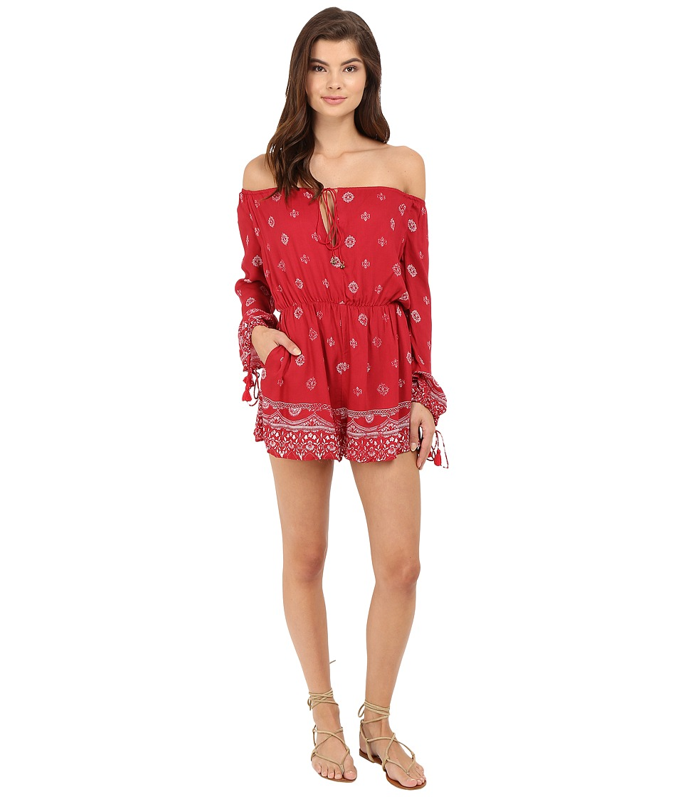 The Jetset Diaries Fuego Romper Red Rose Print Womens Jumpsuit Rompers One Piece