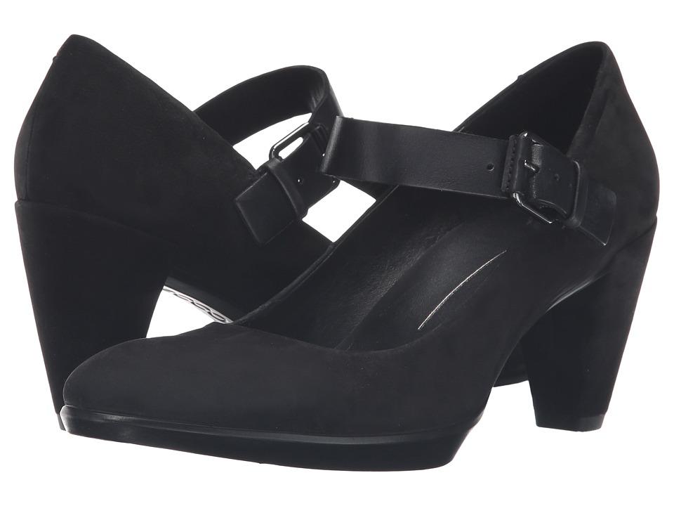 ECCO - Shape 55 Plateau Mary Jane Pump (Black/Black Calf Nubuck/Cow Nubuck) High Heels