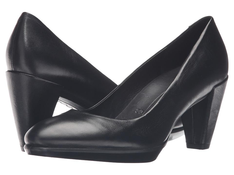 Ecco Shape 55 Plateau Pump (Black Calf Leather) High Heels