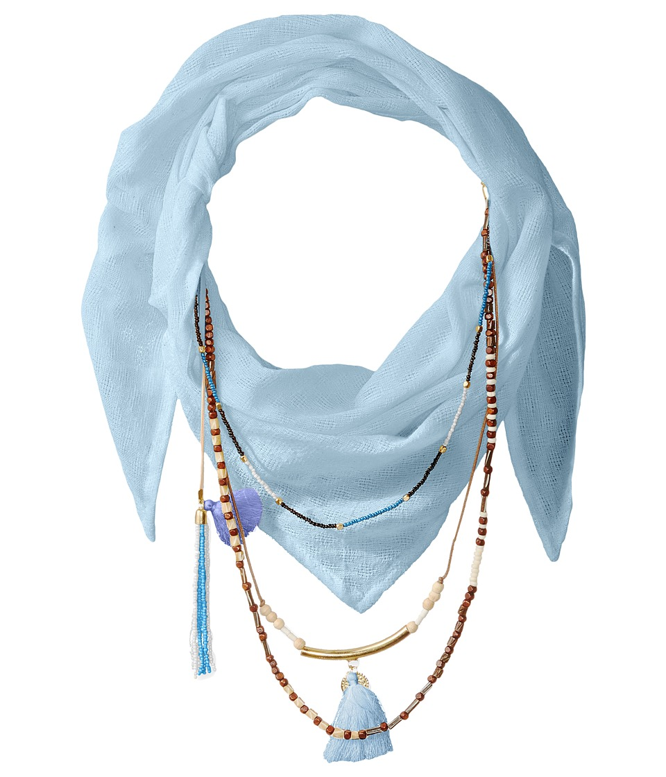 BCBGeneration Solid Layered Beads Triangle Scarf Desert Blue Scarves