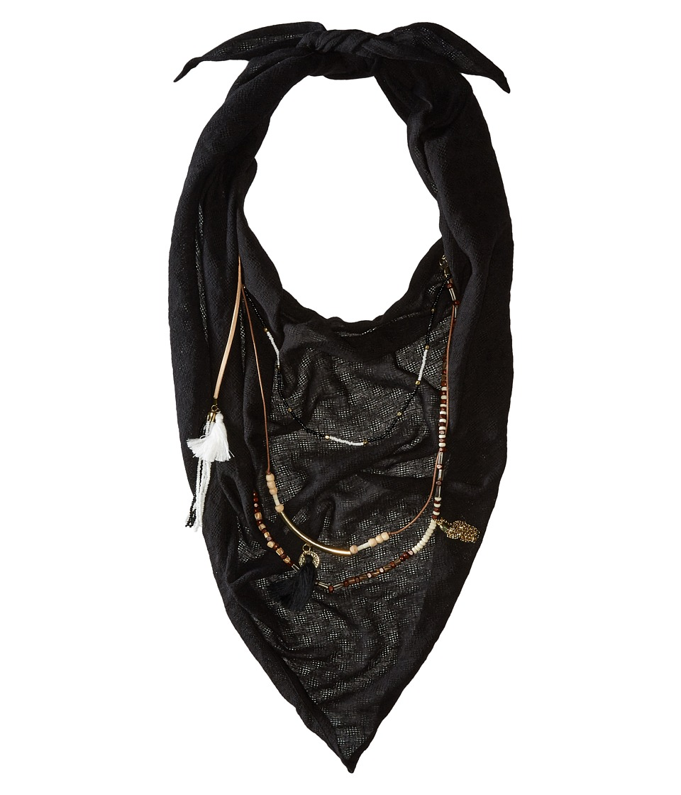 BCBGeneration Solid Layered Beads Triangle Scarf Black Scarves