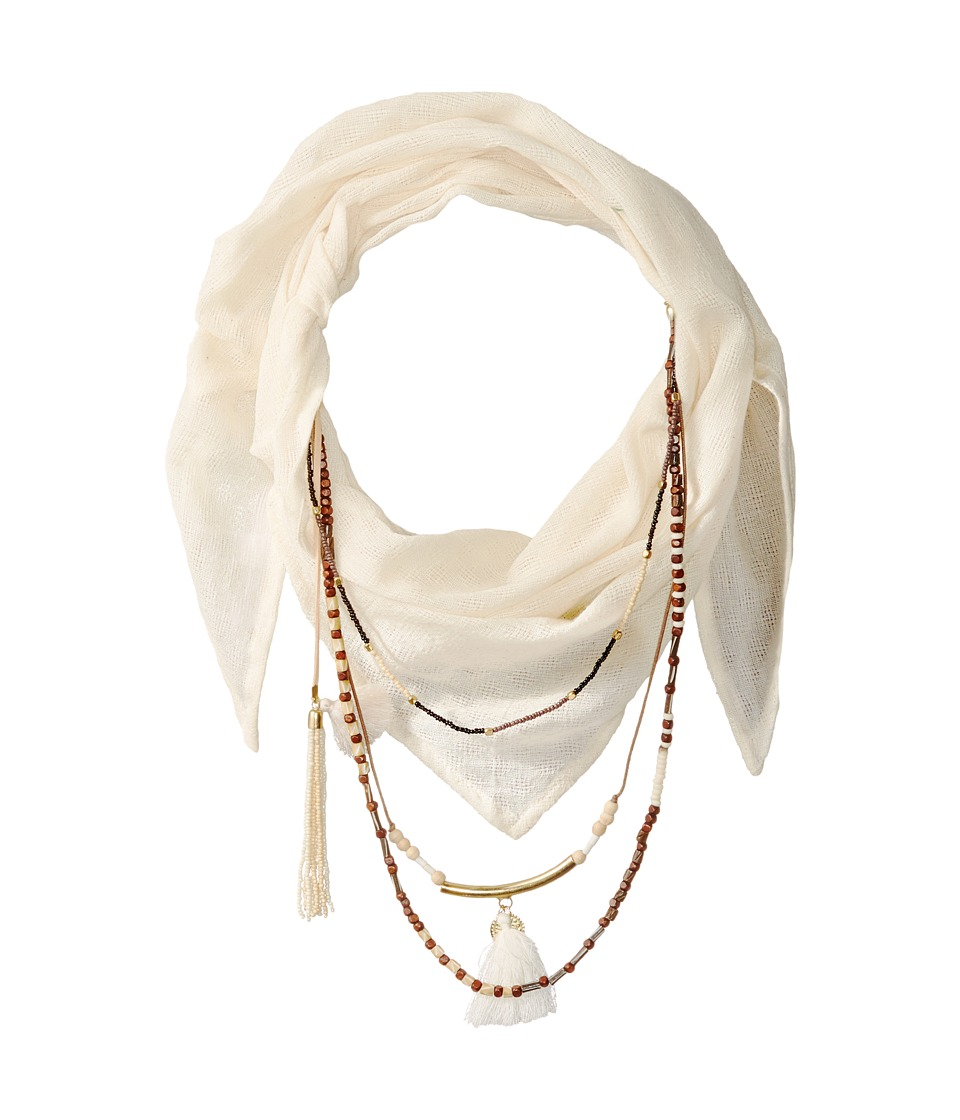 BCBGeneration Solid Layered Beads Triangle Scarf Ivory Scarves