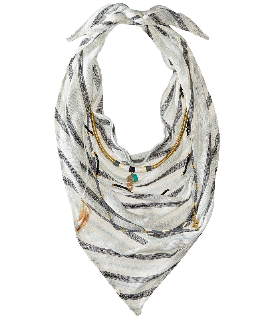 BCBGeneration Striped Layered Triangle Scarf Black Scarves