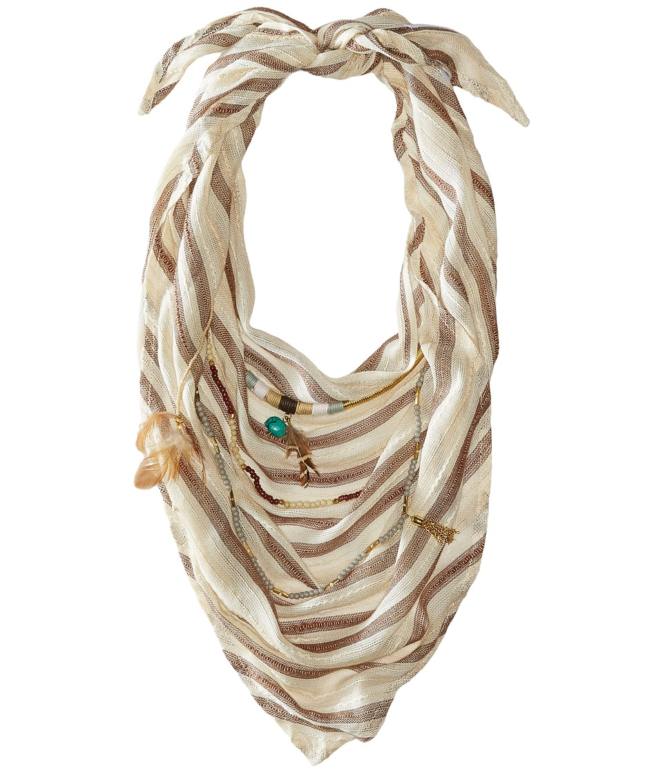 BCBGeneration Striped Layered Triangle Scarf Champagne Scarves